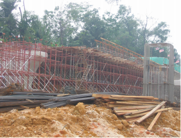 Construction of cast in-situ box girder at ramp F