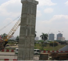 Completed 26m high column at Segambut roundabout