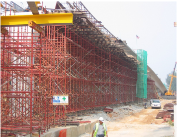 Construction of cast in-situ box girder at ramp c inclusive of one lane opening