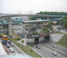 Side view of the ramp from Jalan Kuching to Jalan Duta