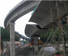 Side view of completed ramp from Jalan Kuching to Jalan Duta